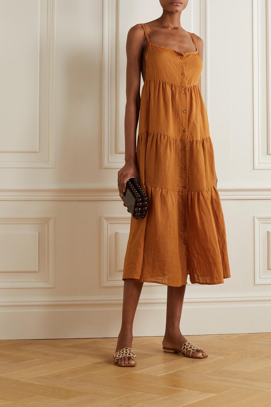 Anemone The Flounce tiered ramie midi dress