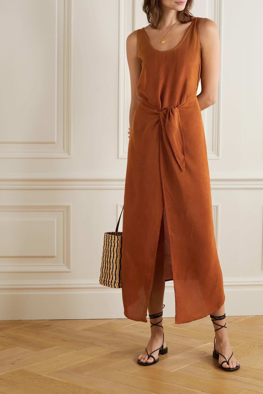 Brown Cupro Wrap Dress | Anemone