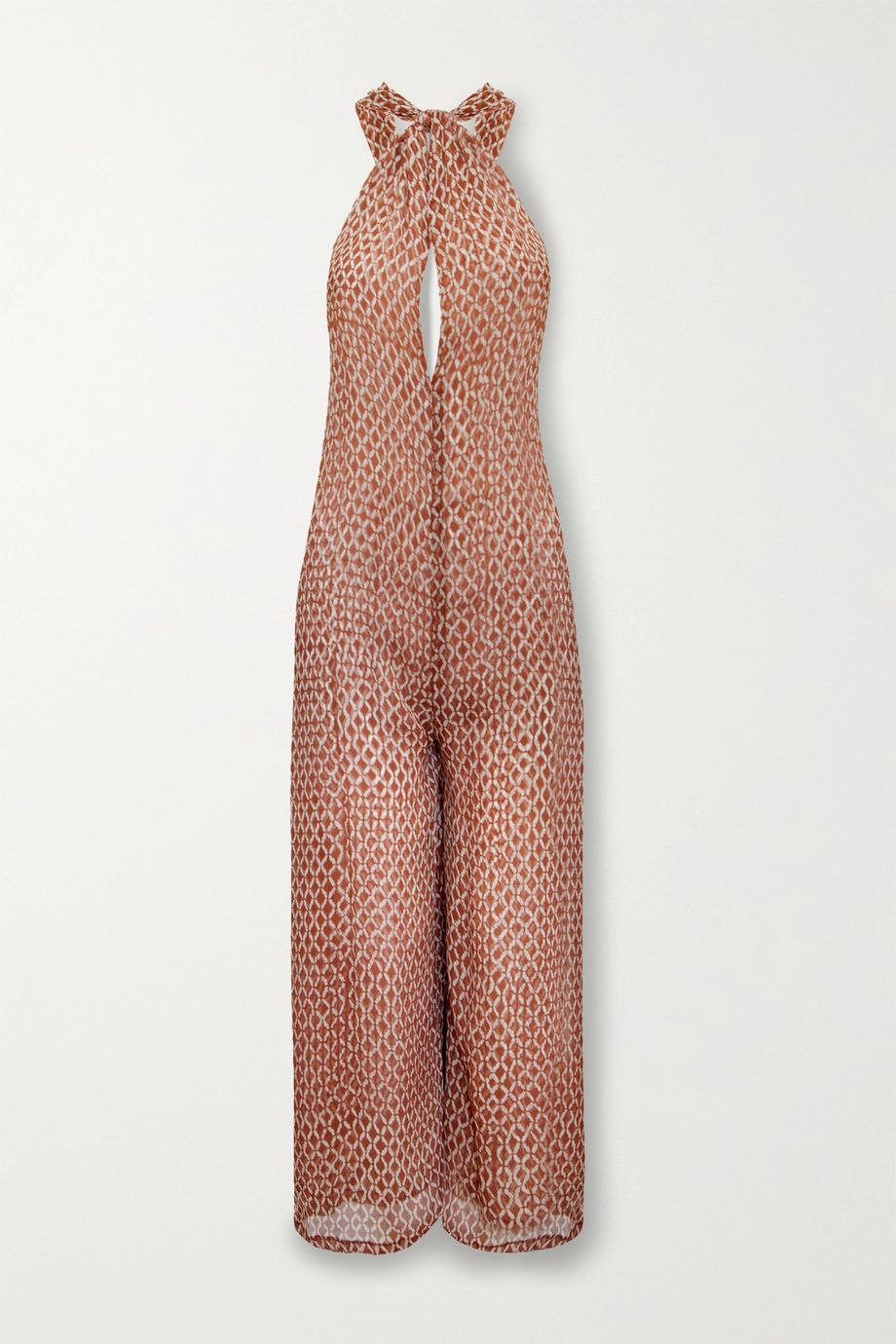 Cloe Cassandro + NET SUSTAIN Ruby layered printed silk halterneck jumpsuit
