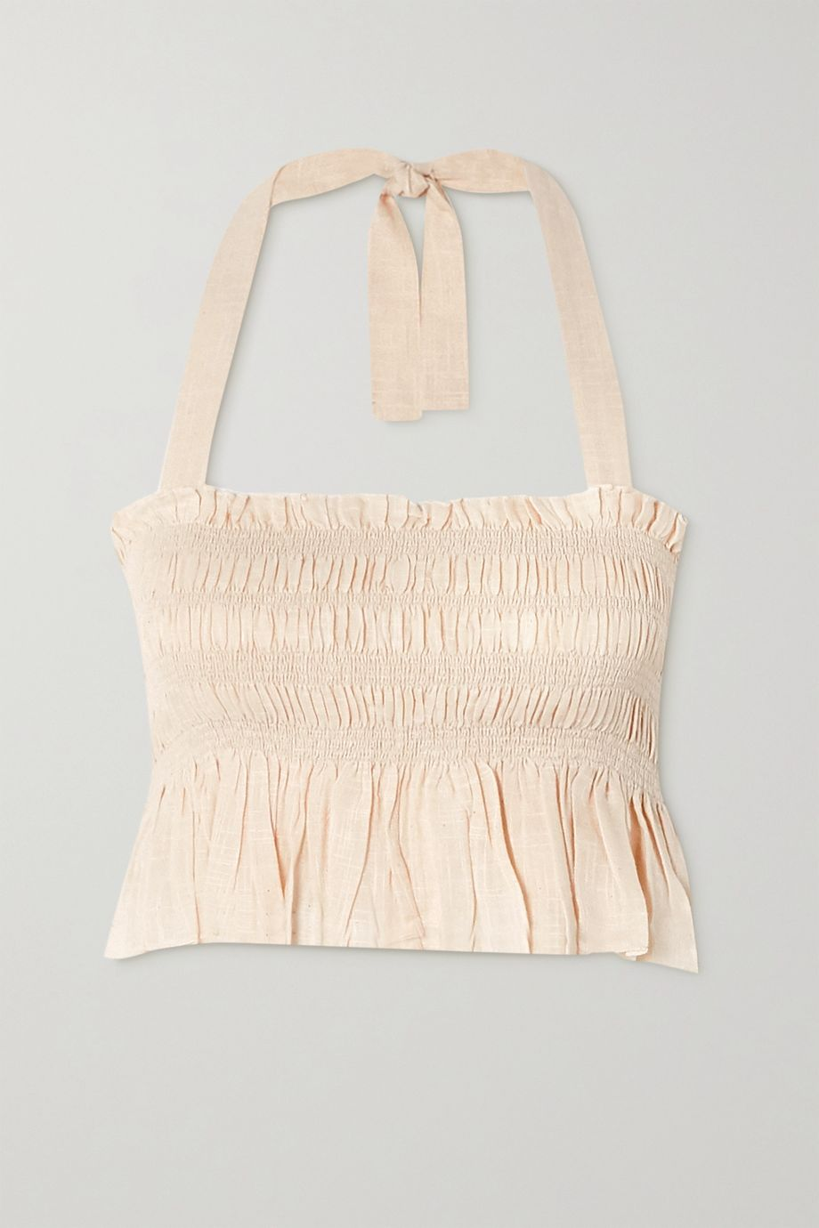 Cloe Cassandro + NET SUSTAIN Billie shirred organic cotton-gauze top