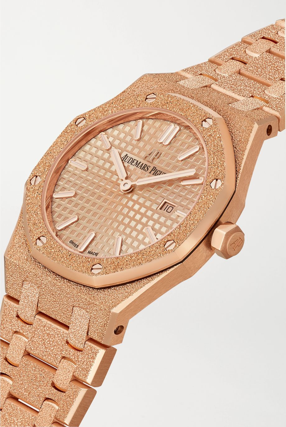 Audemars Piguet Montre en or rose 18 carats givré Royal Oak 33 mm