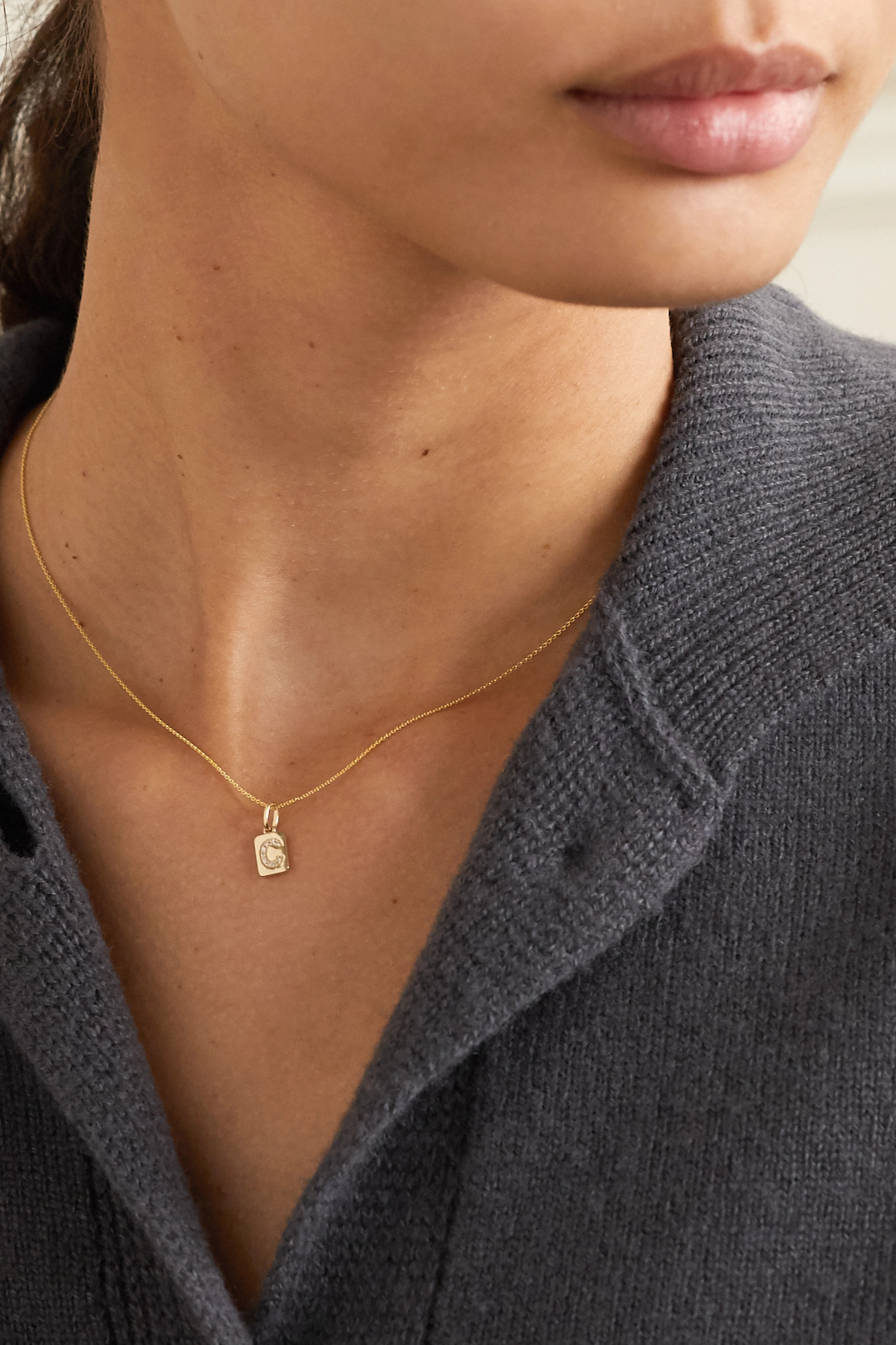 STONE AND STRAND Spell It Out 14-karat gold diamond necklace
