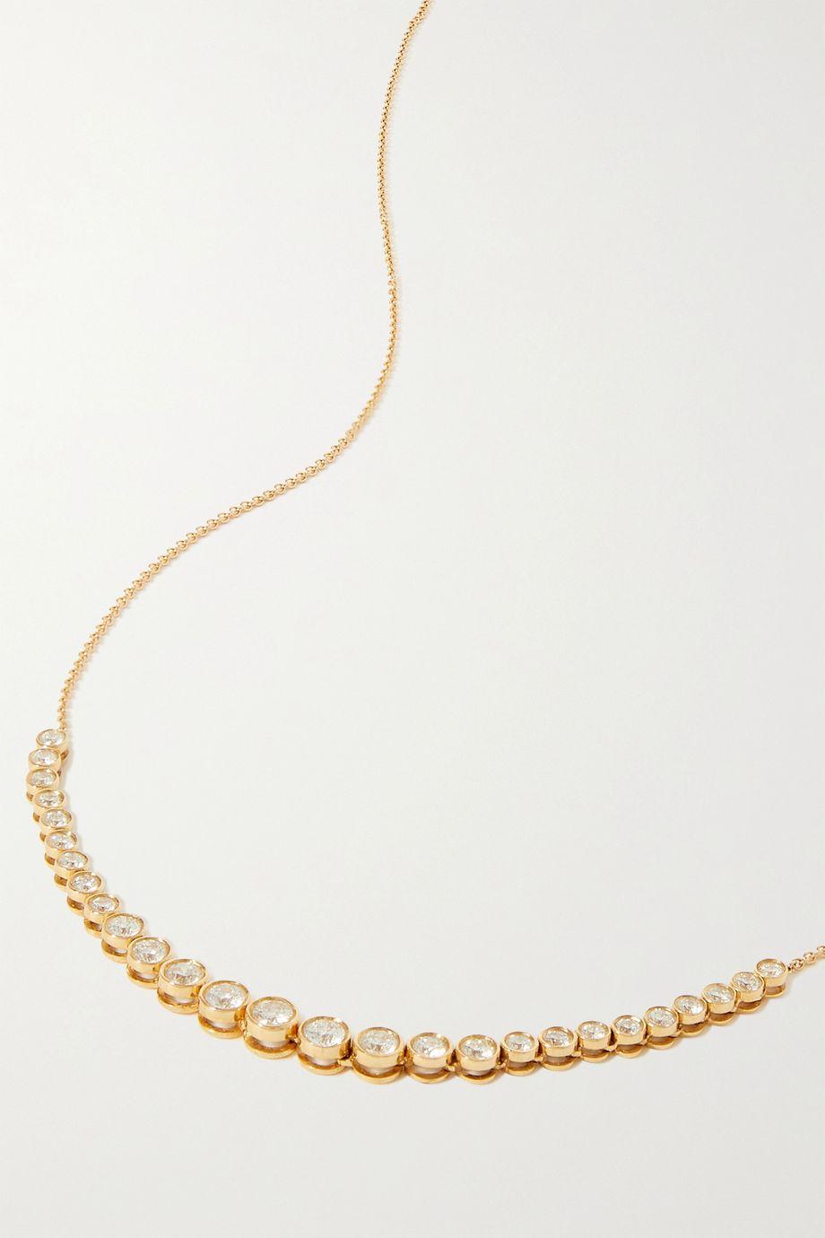 STONE AND STRAND Let It Slide Kette aus 10 Karat Gold mit Diamanten