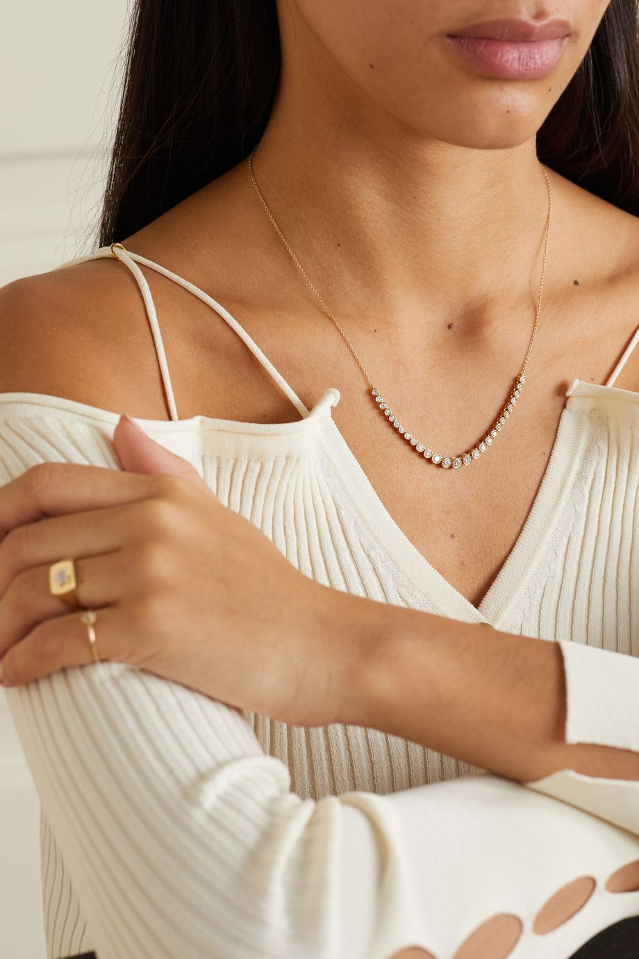 STONE AND STRAND Let It Slide 10-karat gold diamond necklace