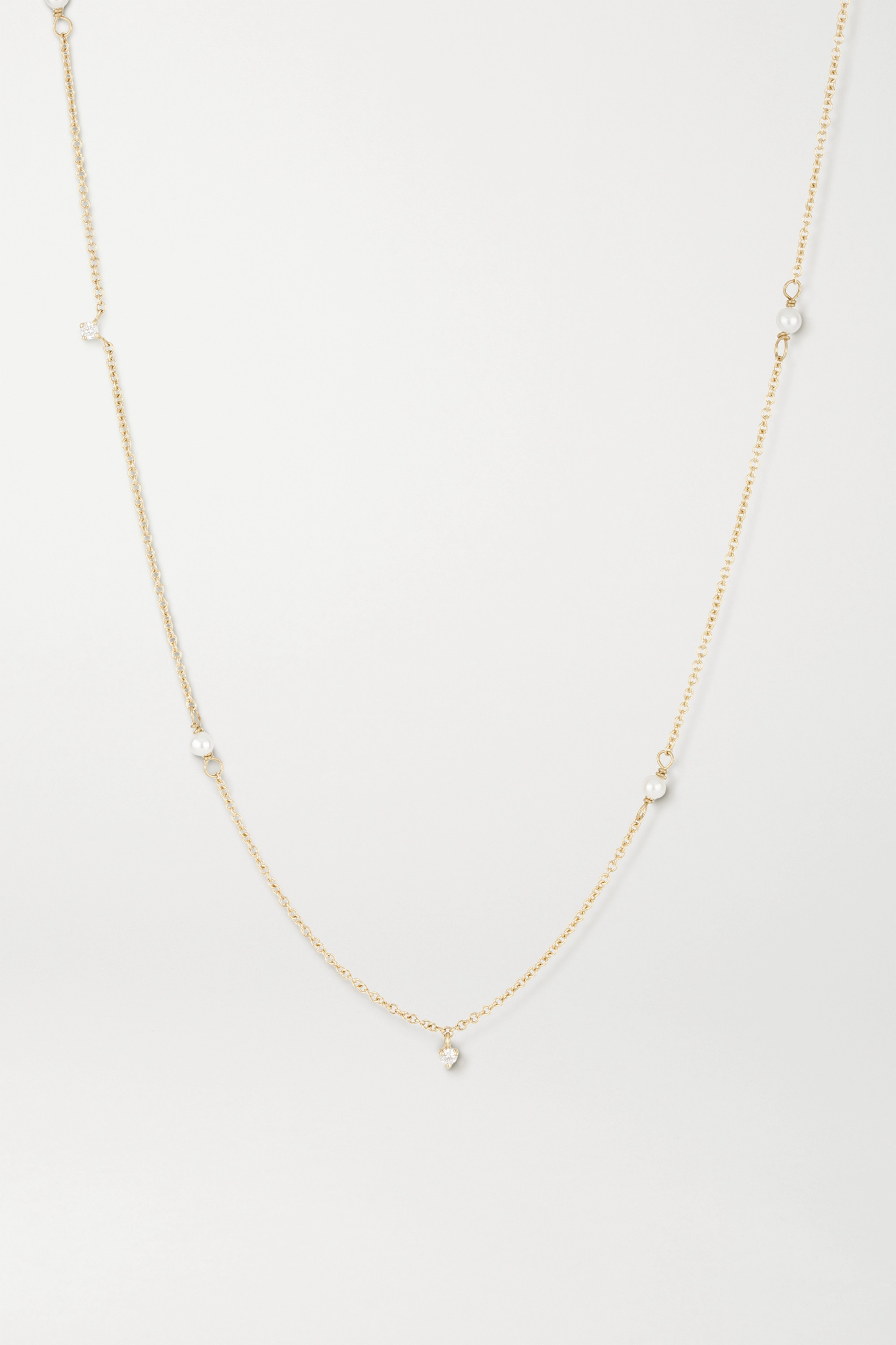 STONE AND STRAND 14-karat gold, diamond and pearl necklace