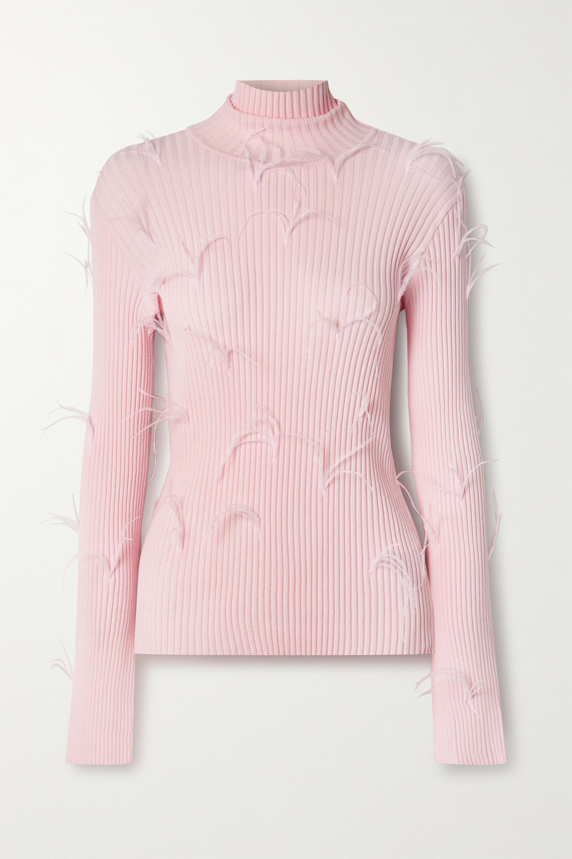 Marques' Almeida Feather-embellished ribbed-knit turtleneck sweater