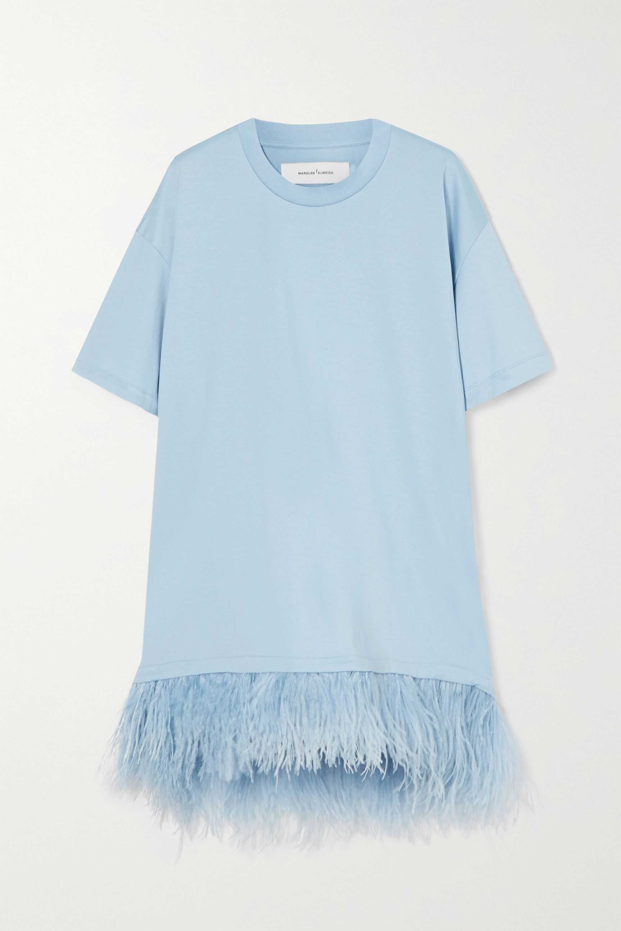 Marques' Almeida Feather-trimmed cotton-jersey mini dress