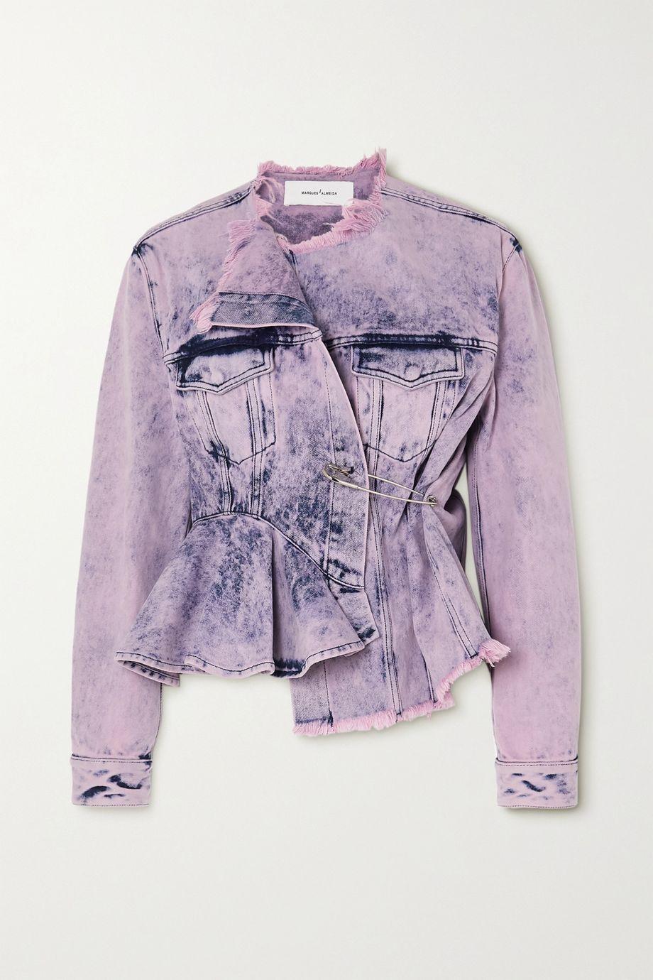 Marques' Almeida Asymmetric frayed acid-wash denim jacket
