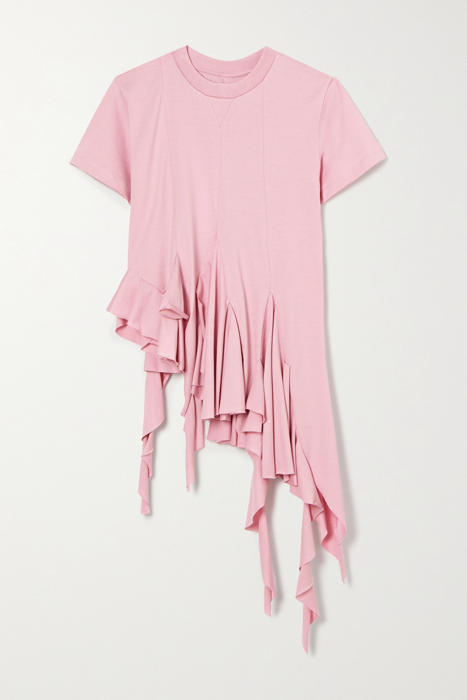 Marques' Almeida Asymmetric ruffled cotton-jersey t-shirt