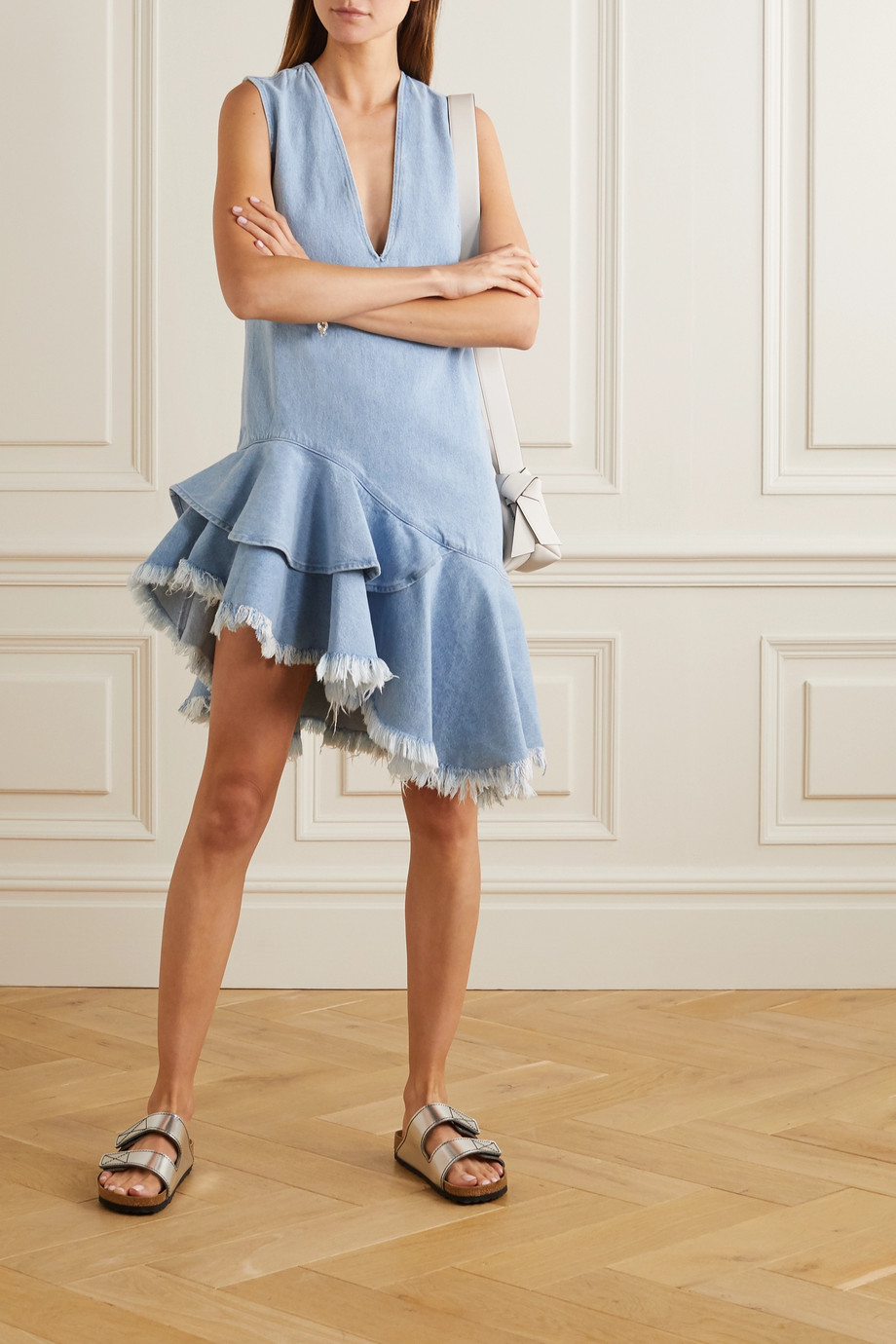 Marques' Almeida Asymmetric frayed ruffled denim dress