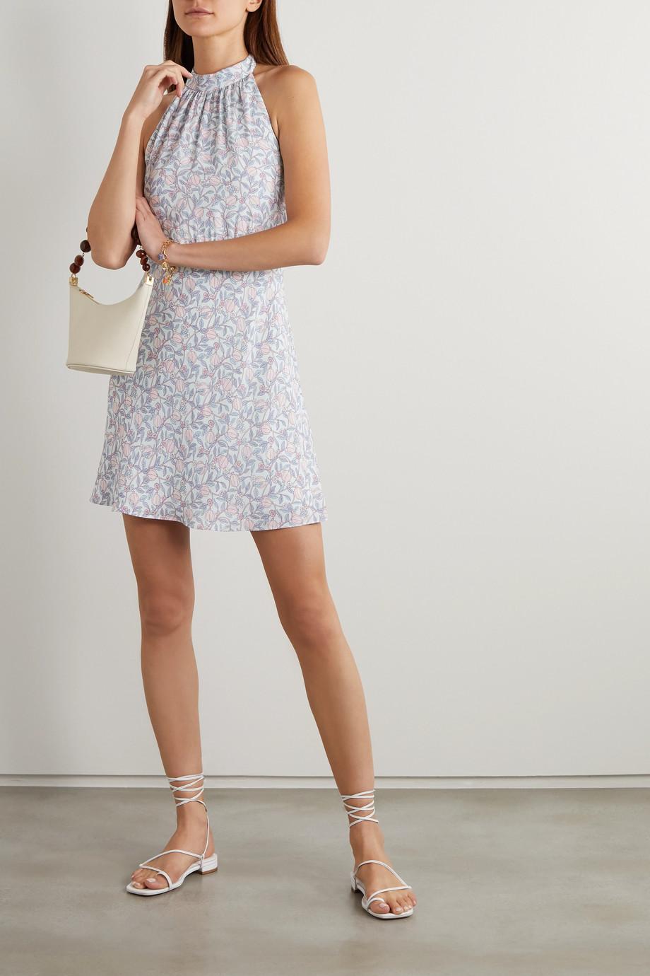 TVF Éclair floral-print crepe de chine halterneck mini dress