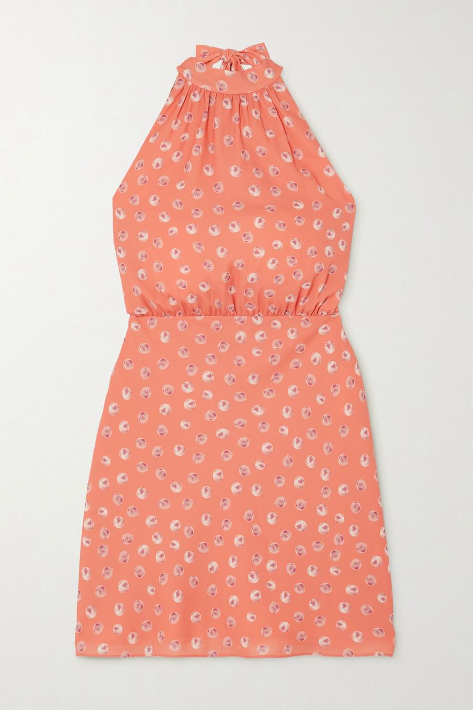 TVF Éclair printed crepe de chine mini halterneck dress