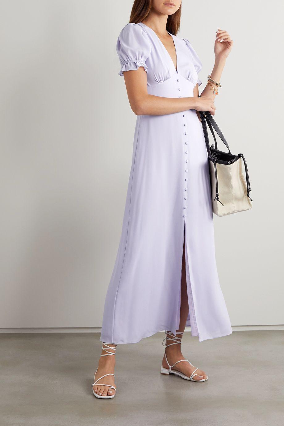 TVF Lavender crepe de chine maxi dress