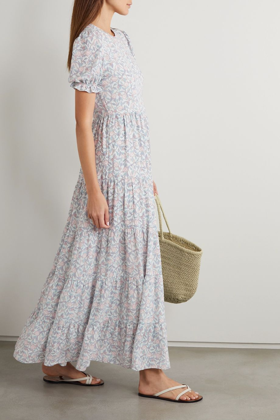 TVF Fern tiered floral-print crepe de chine maxi dress