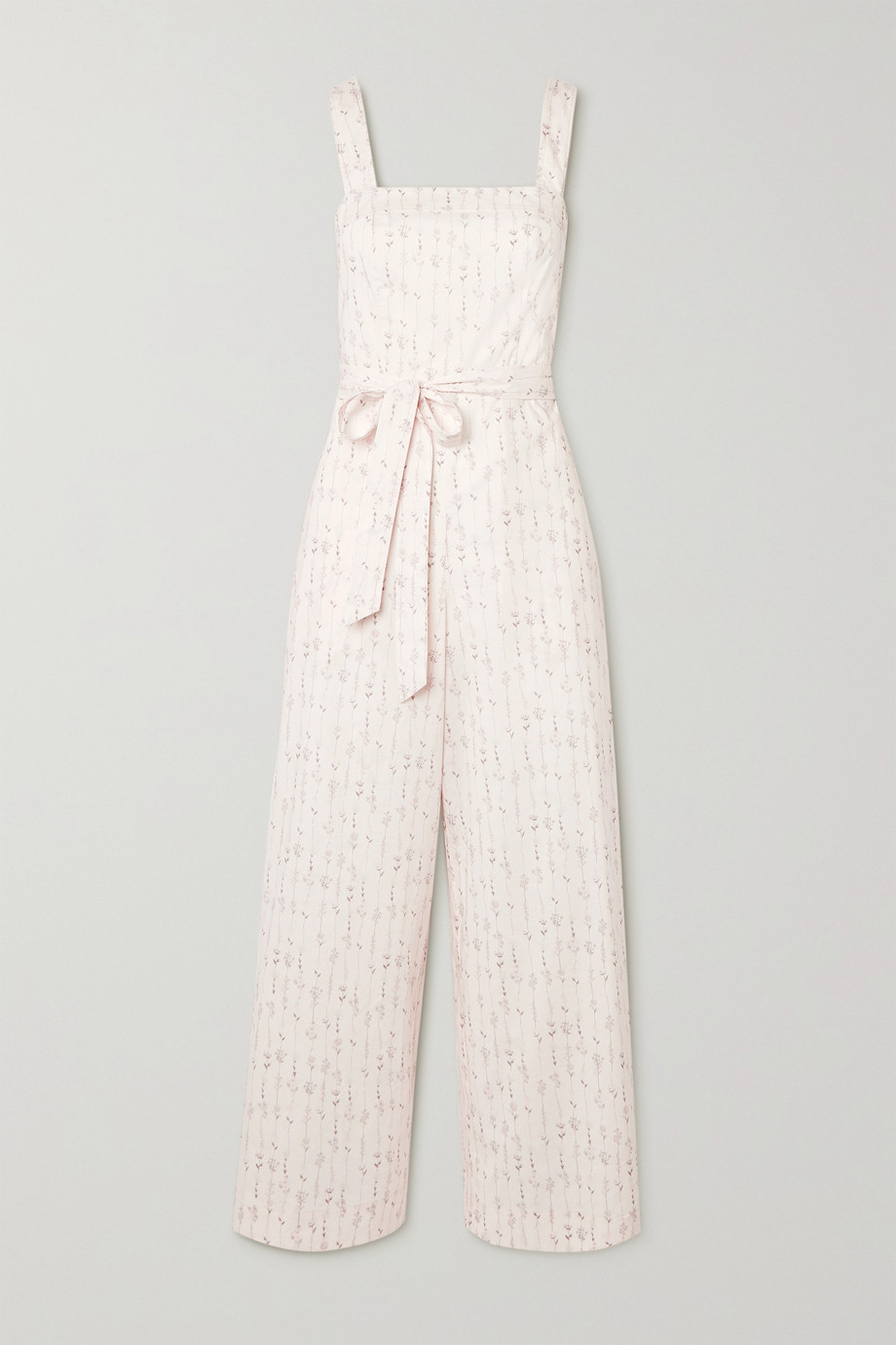 TVF Shortcake belted floral-print cotton jumpsuit