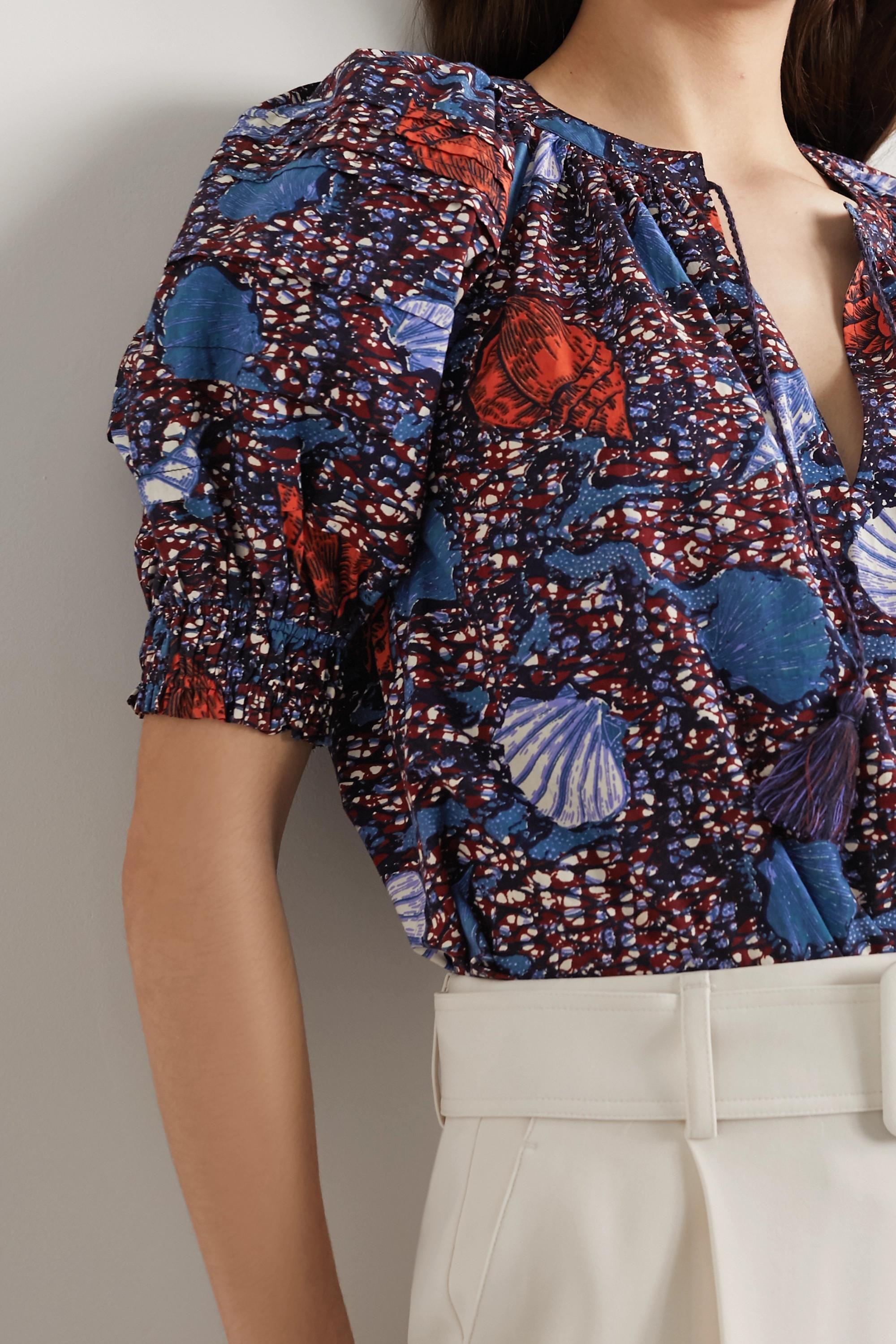 Ulla Johnson Arin tasseled printed cotton top