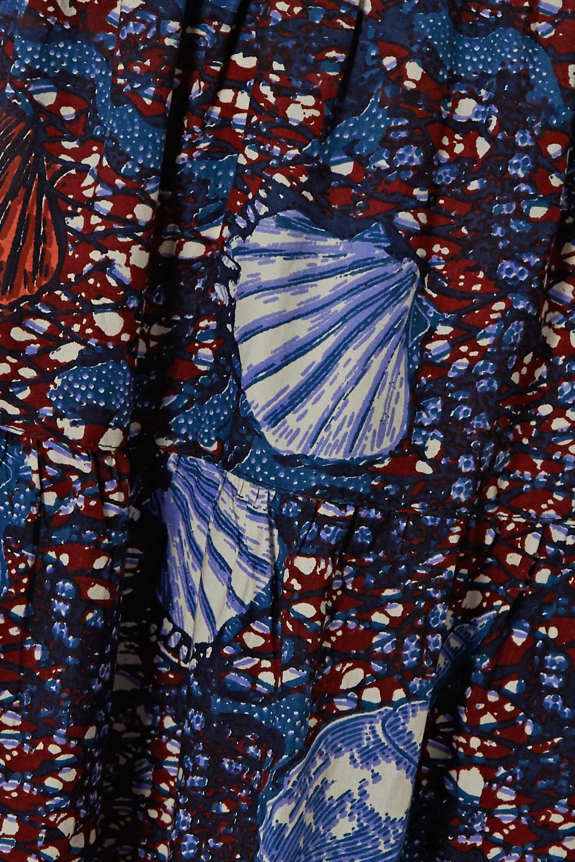 Blue Sylvie Pleated Printed Cotton Midi Skirt | Ulla Johnson