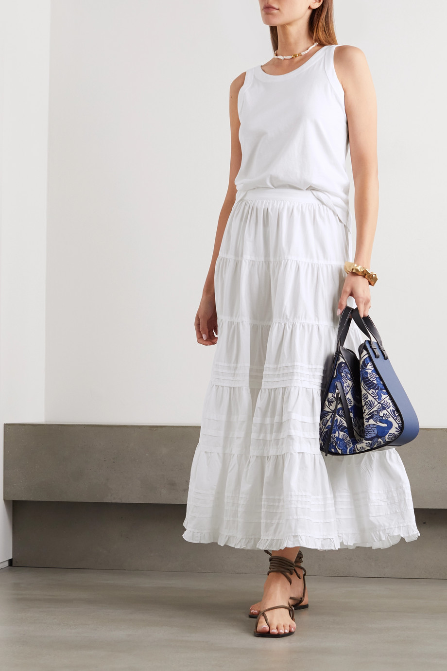 Ulla Johnson Sylvie ruffle-trimmed tiered cotton-poplin midi skirt