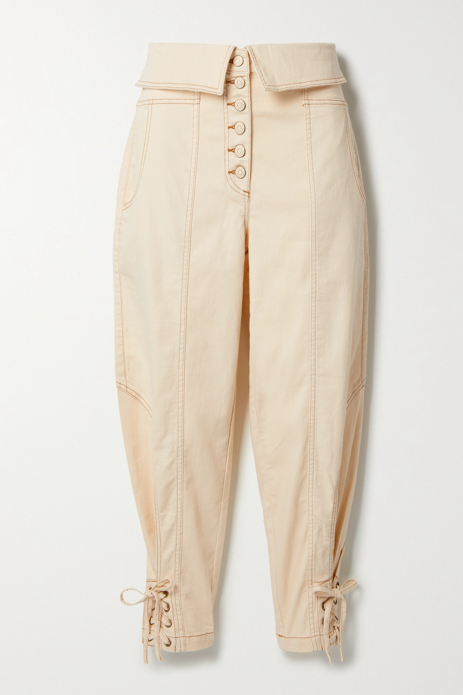 Ulla Johnson Kingston cropped belted cotton-blend twill tapered pants