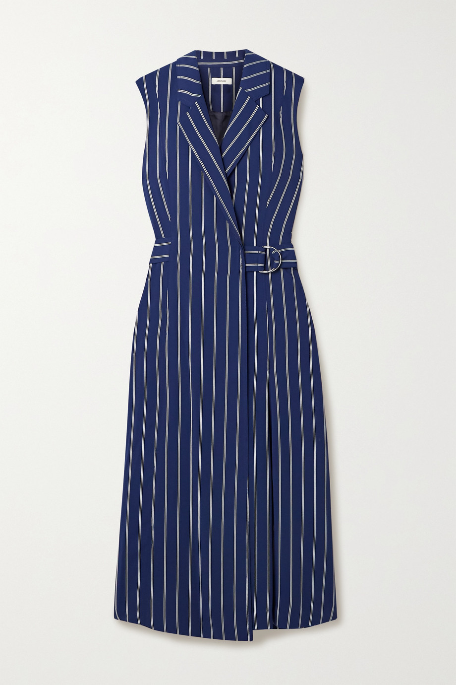 Jason Wu Pinstriped woven wrap midi dress