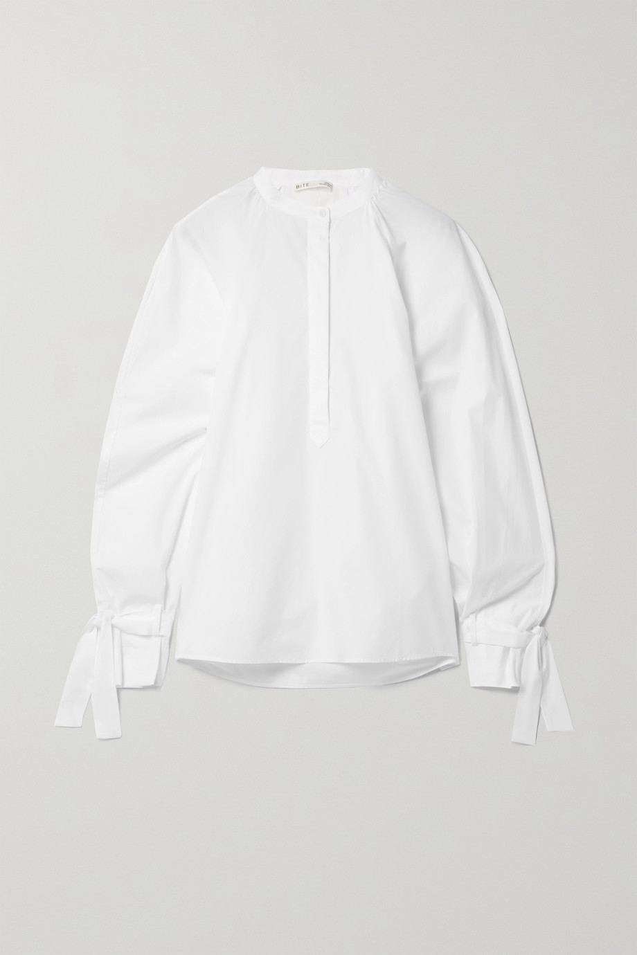 BITE Studios + NET SUSTAIN tie-detailed organic cotton-poplin blouse