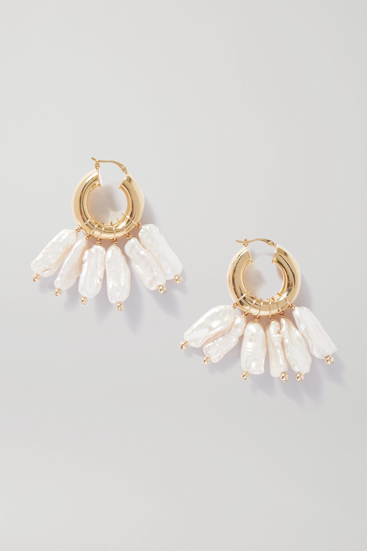 éliou Pippa gold-plated pearl hoop earrings