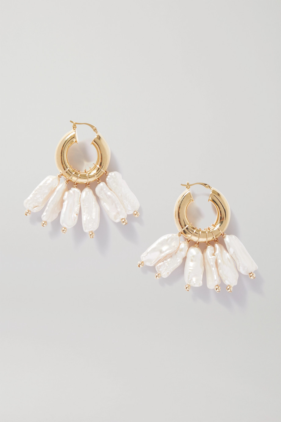éliou Pippa gold-plated pearl hoop earrings