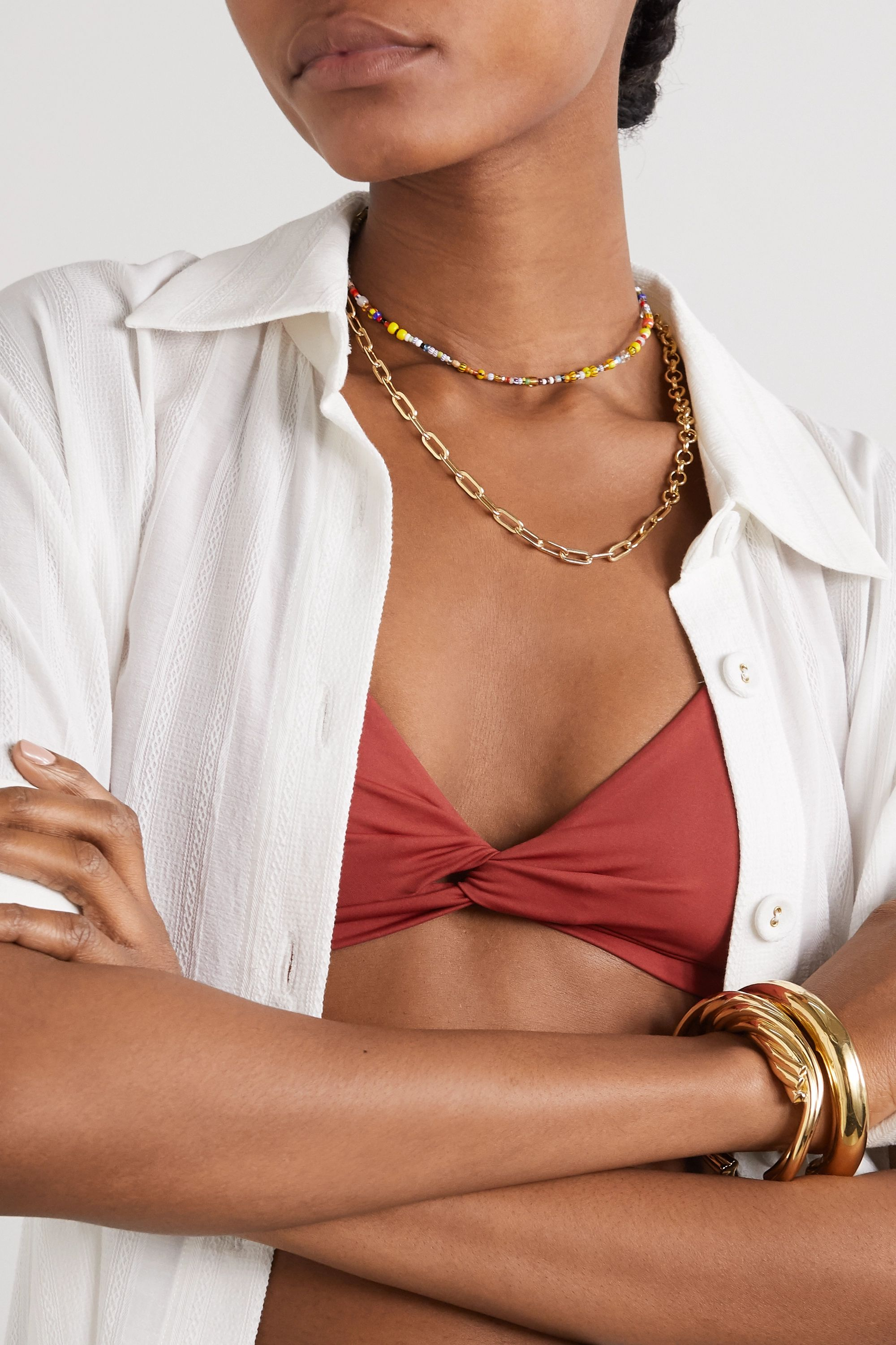 éliou Victoria gold-plated, bead and pearl body chain