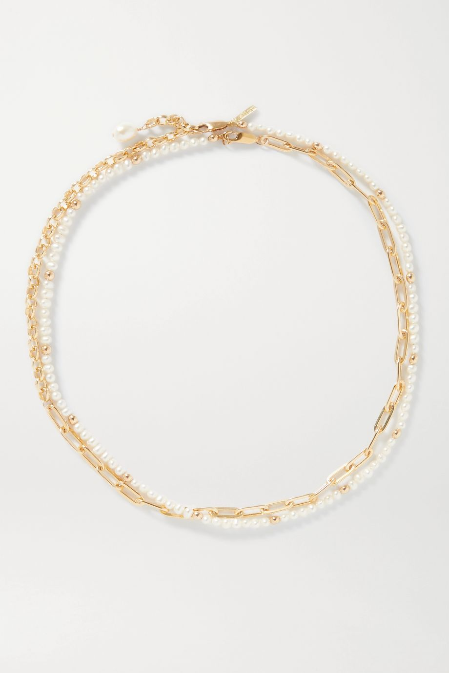 éliou Victoria gold-plated pearl body chain