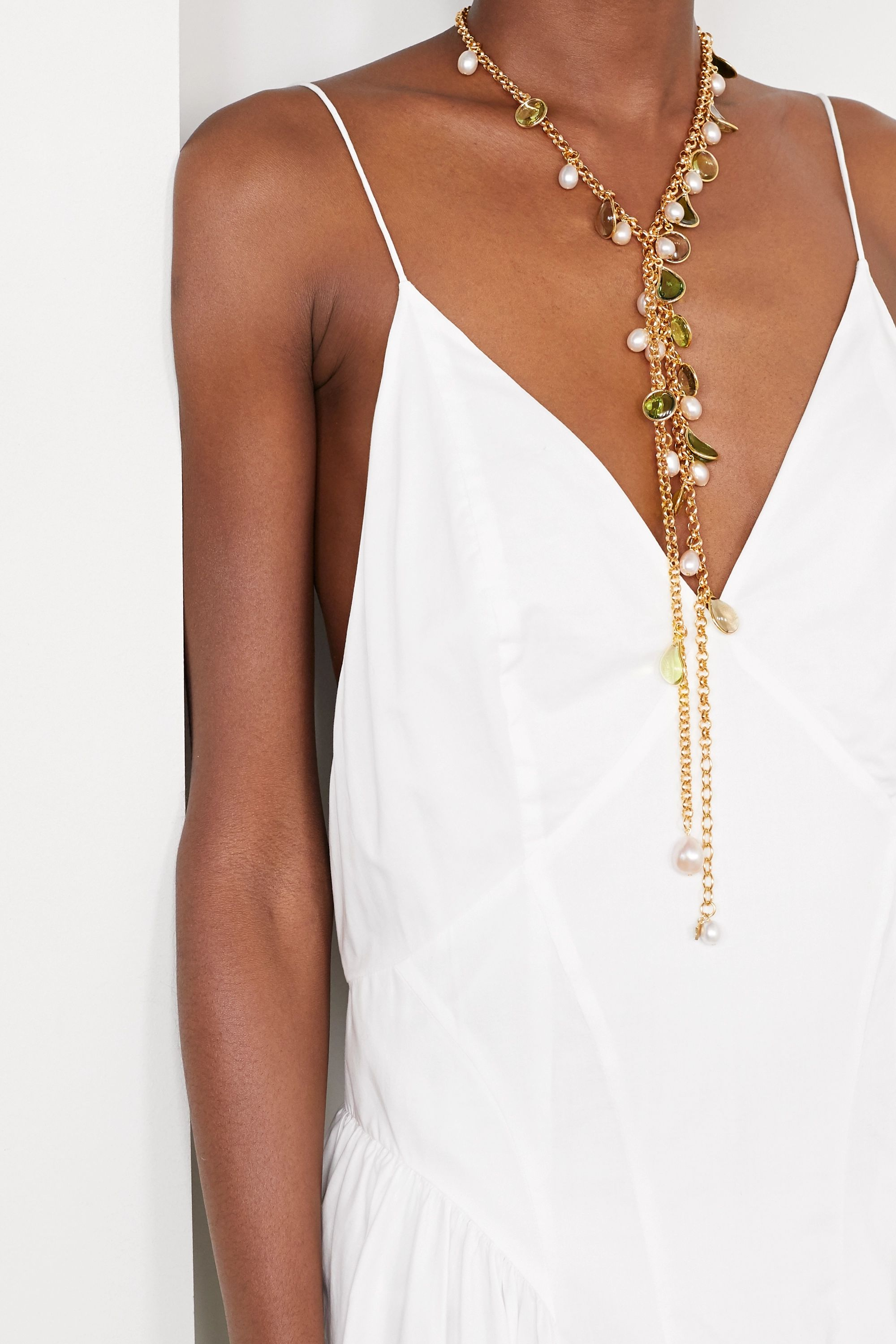 Gold Gold-plated, Glass And Pearl Necklace | Loulou De La Falaise