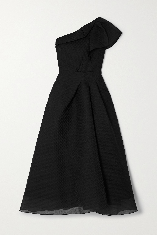 Roland Mouret Ostuni one-shoulder silk-blend organza-jacquard midi dress