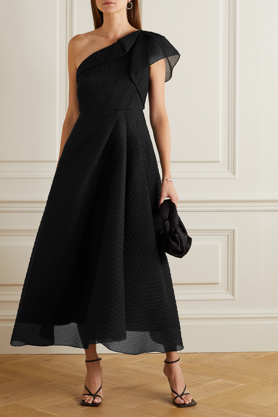 Roland Mouret Ostuni one-shoulder silk-blend organza-jacquard midi dress