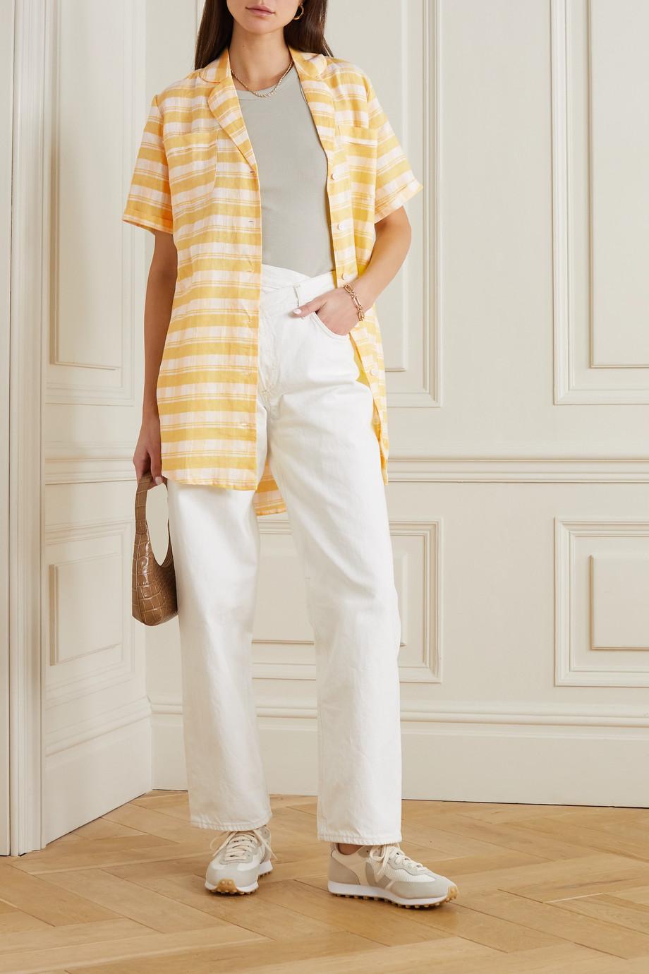 Faithfull The Brand Caldera checked linen mini shirt dress