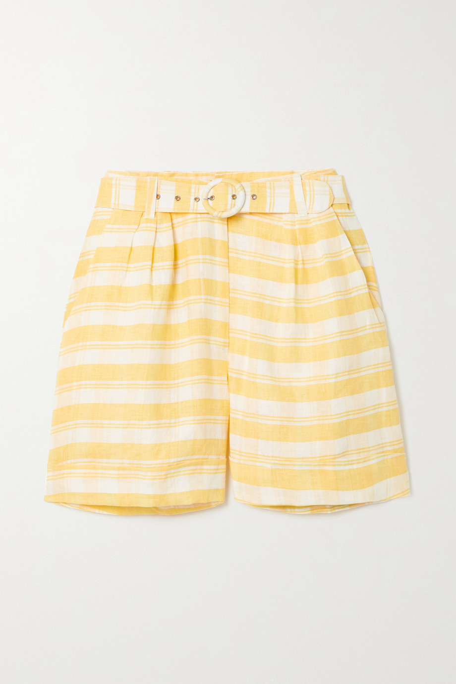 Faithfull The Brand Les Deux belted checked linen shorts