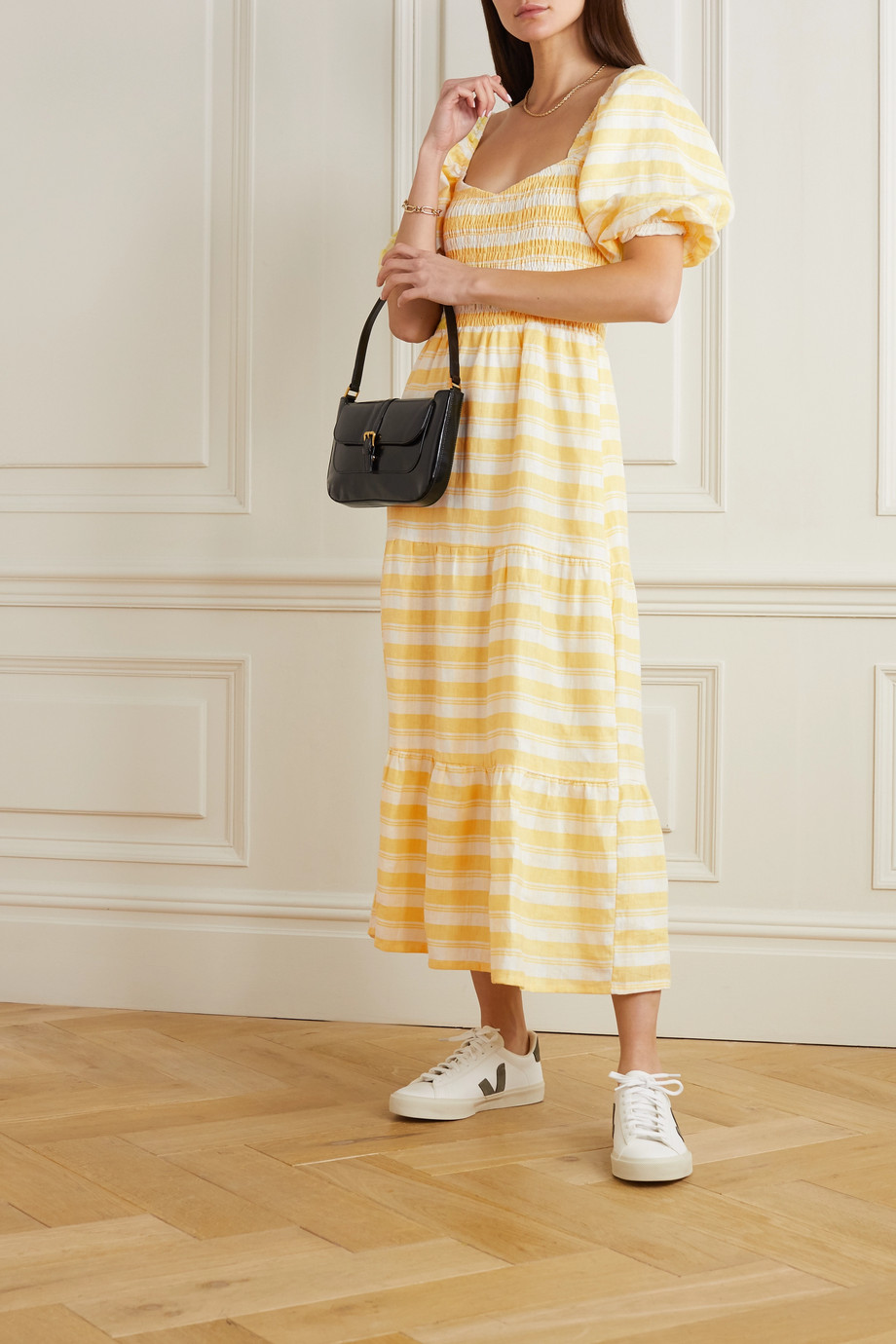 Faithfull The Brand Gianna shirred checked linen midi dress