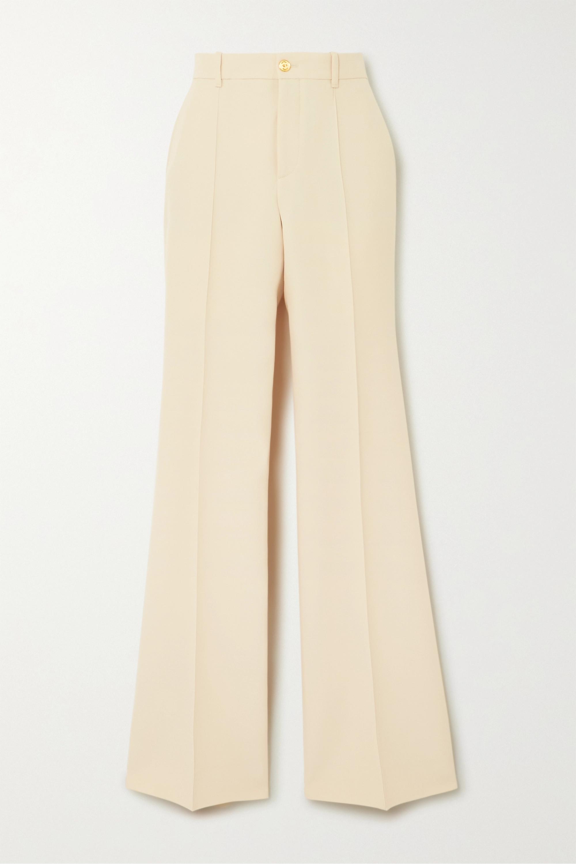 Gucci Pantalon large en crêpe de soie et laine mélangées