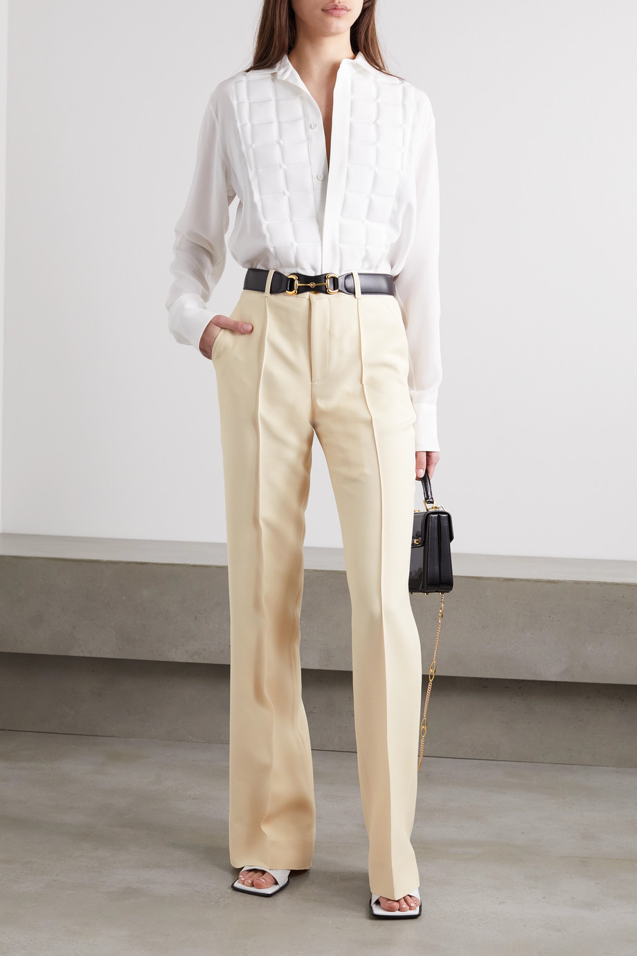 Gucci Silk and wool-blend crepe wide-leg pants