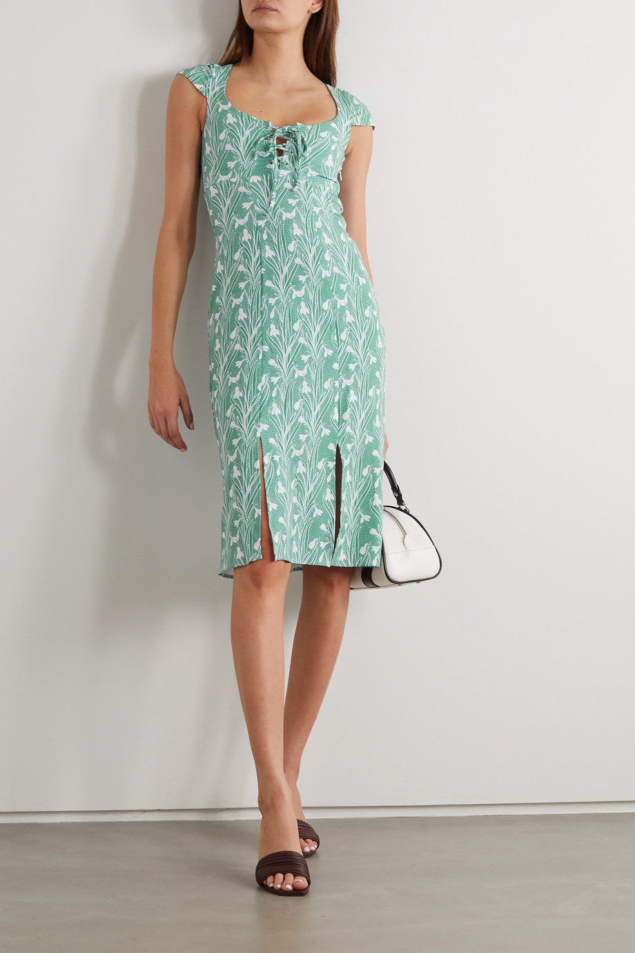 Miaou + NET SUSTAIN Arielle lace-up floral-print stretch-crepe dress