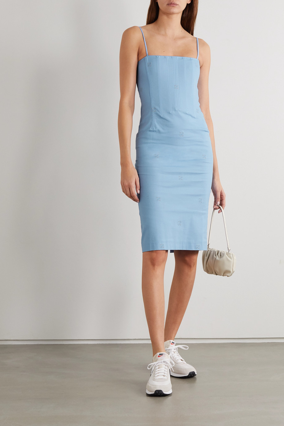 Miaou + NET SUSTAIN Degas embroidered stretch-cotton chambray dress