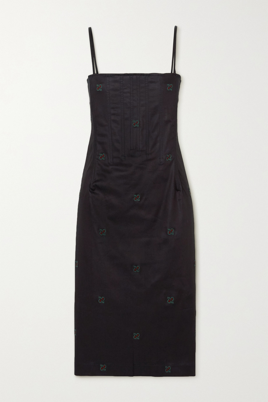 Miaou Degas Kleid aus Chambray aus Stretch-Baumwolle mit Stickereien