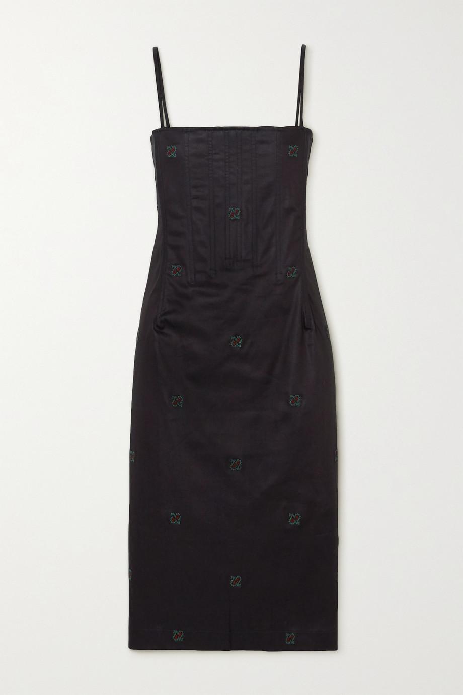 Miaou Degas embroidered stretch-cotton chambray dress