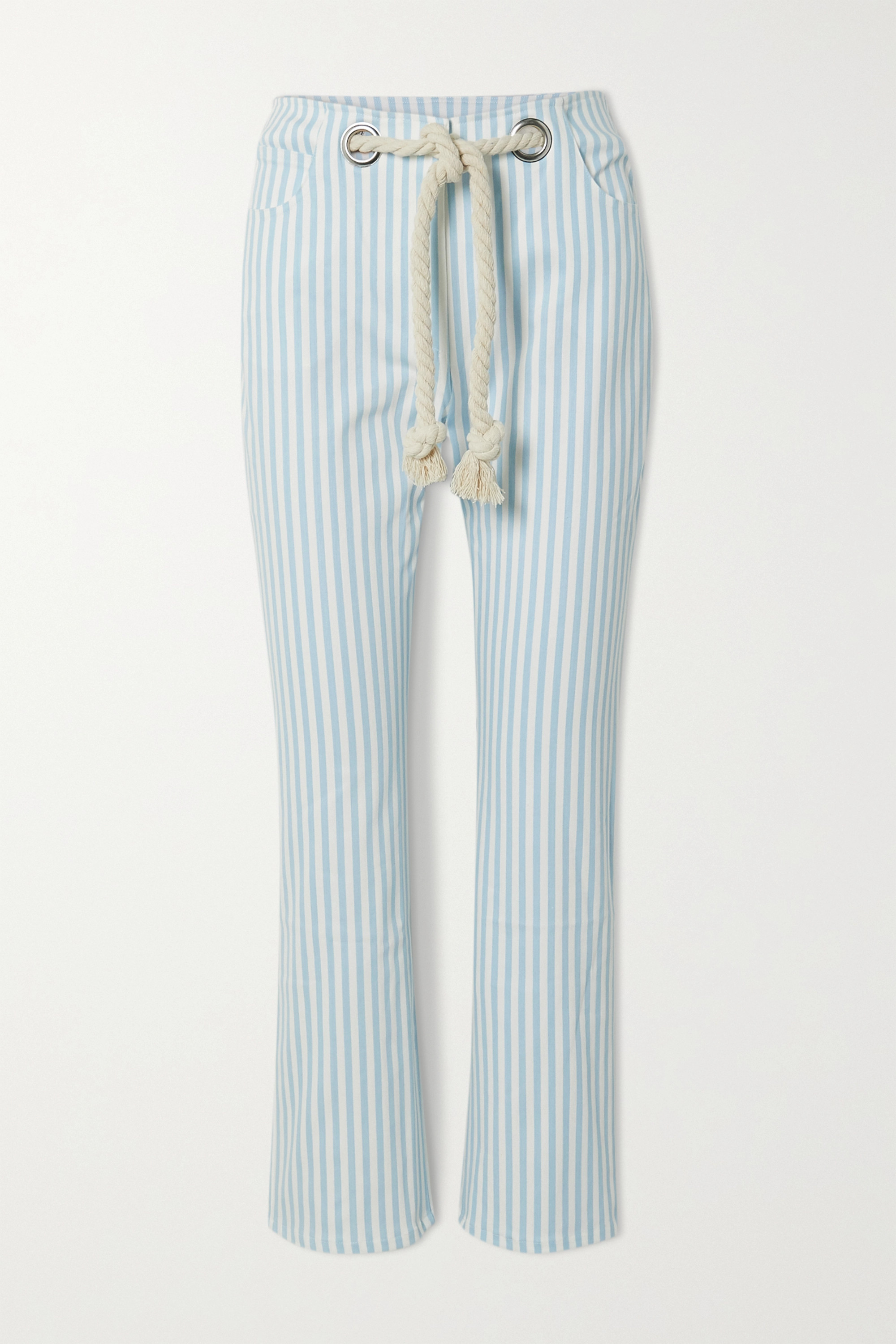 Miaou Tommy cropped belted striped straight-leg jeans
