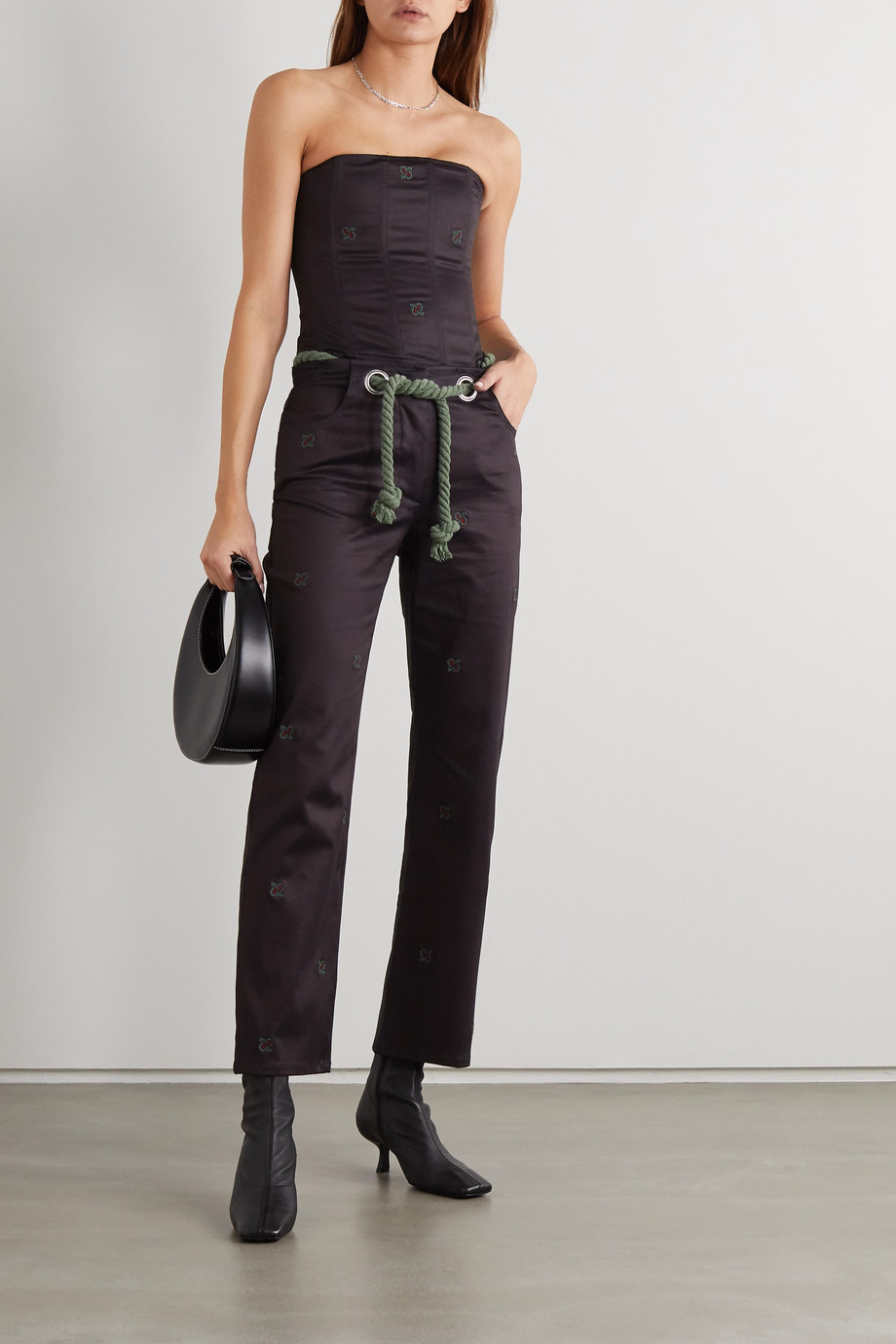 Miaou + NET SUSTAIN Tommy cropped belted cotton-blend straight-leg pants