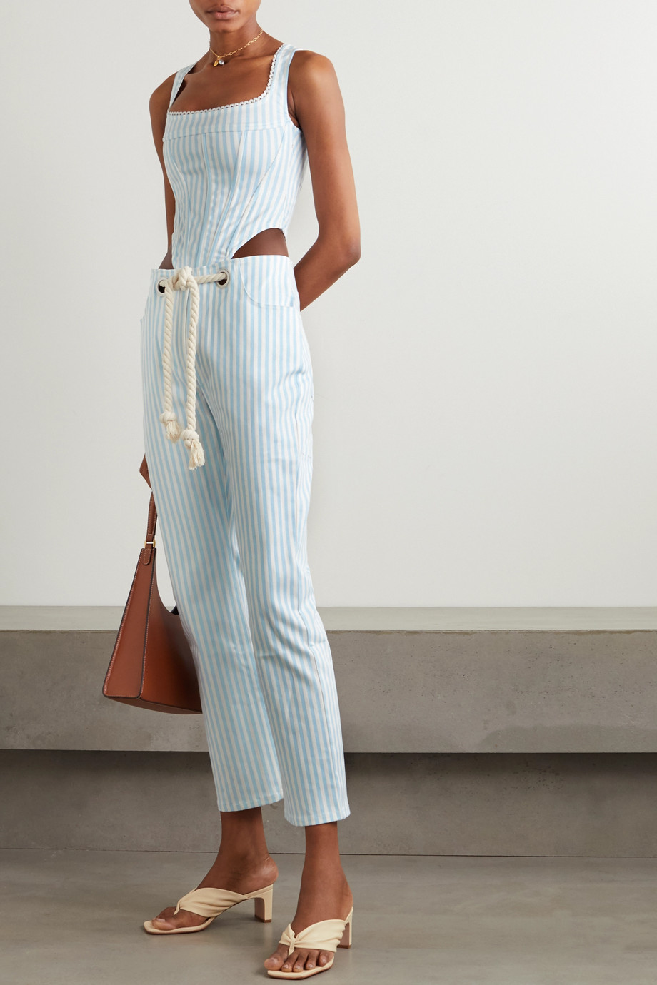 Miaou Campbell lace-trimmed striped denim bustier top