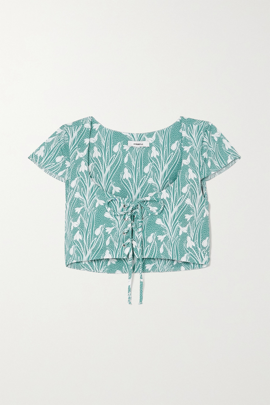 Miaou + NET SUSTAIN Arielle cropped lace-up floral-print stretch-crepe top