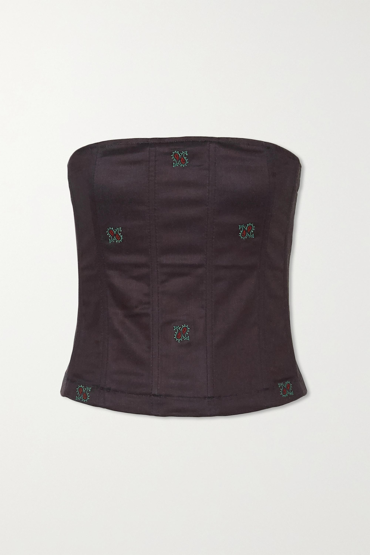 Miaou + NET SUSTAIN Lucy Bustier-Oberteil aus einer Baumwollmischung mit Stickereien