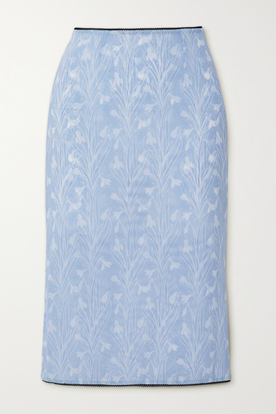 Miaou - Moni Lace-trimmed Floral-print Stretch-mesh Skirt