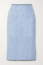 Miaou Moni lace-trimmed floral-print stretch-mesh skirt