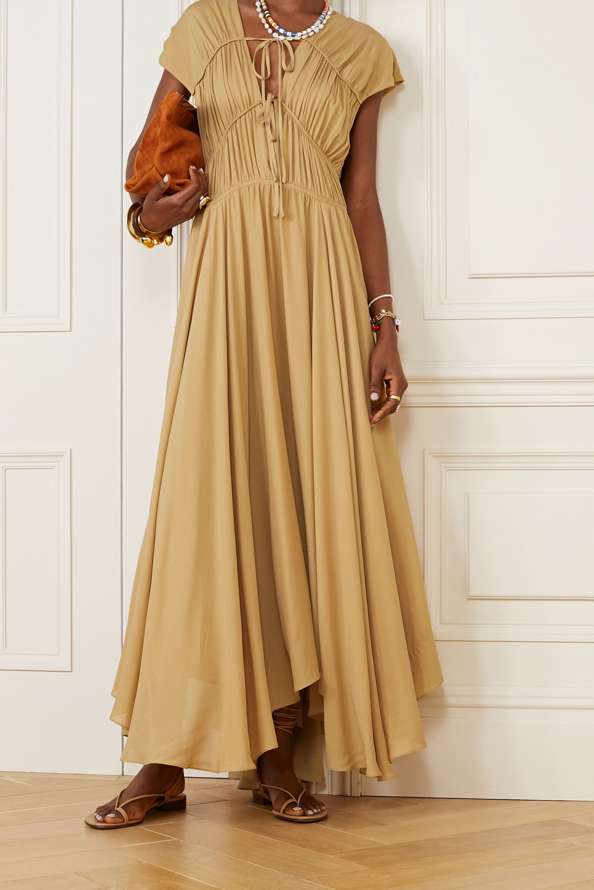 TOVE Flores gathered silk-georgette maxi dress
