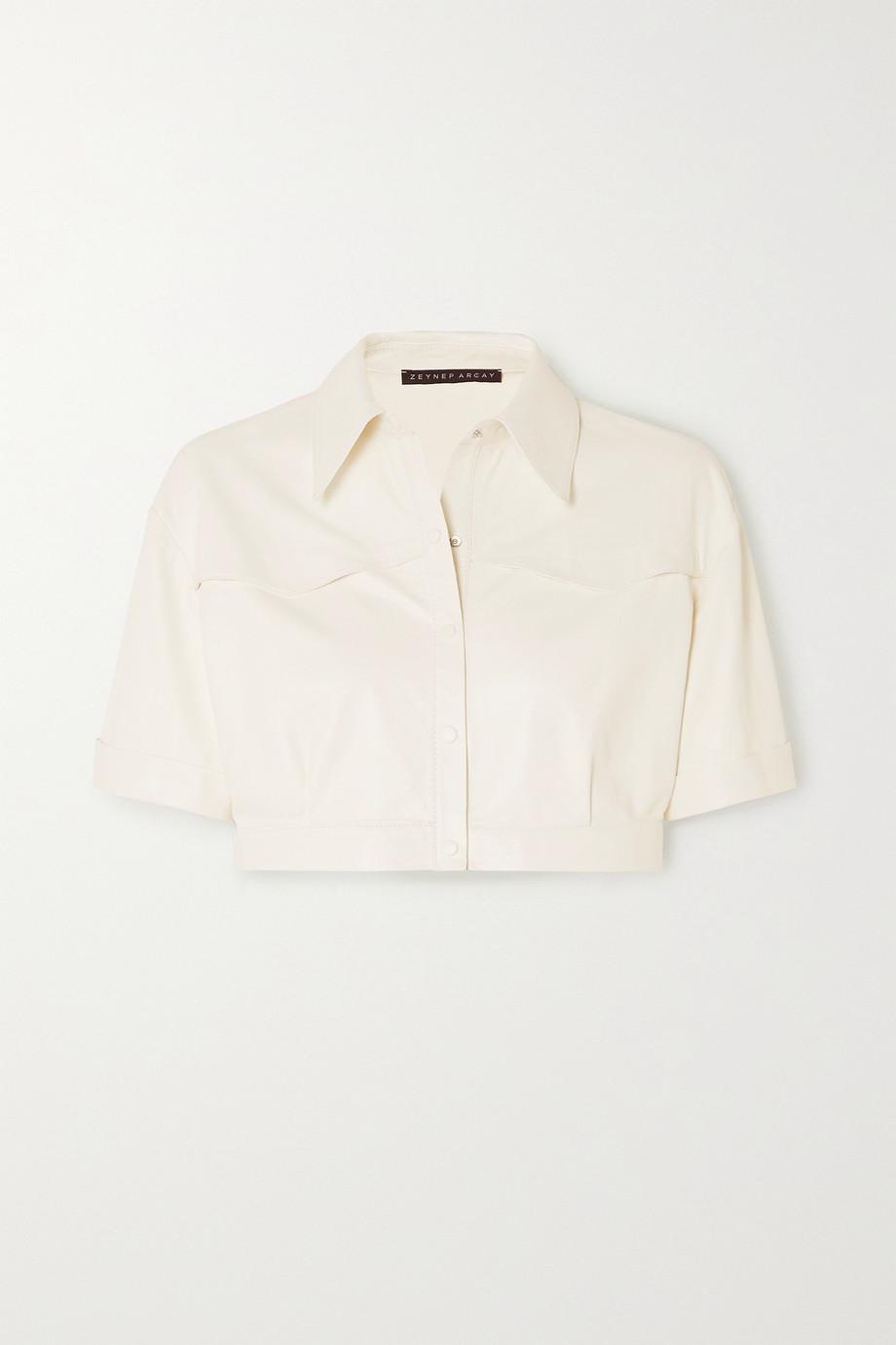 Zeynep Arcay Cropped leather shirt